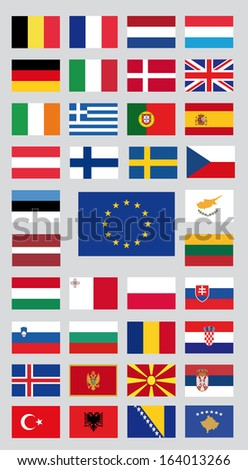 european union countries and candidate countries - stock vector