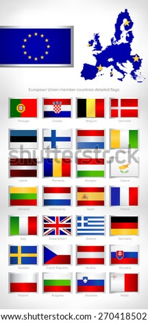 European Union countries member  detailed flags. - stock vector