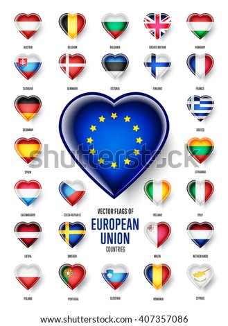 European Union country flags icon set, vector. Heart shape. Austria, Belgium, Bulgaria, Croatia, Cyprus, France, Germany, Greece, Italy, Malta, Netherlands, Spain, Sweden and the UK.
