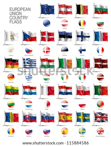 European Union country flags in vector Eps10 file format - stock vector