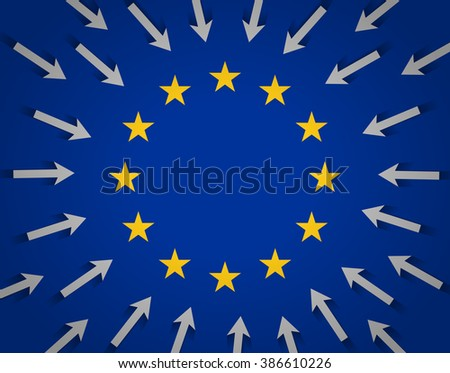 European Union flag and lots of arrows pointing to the center, towards golden stars. Desire of migrants to reach the territory of the European Union. Migration situation in Europe - stock vector