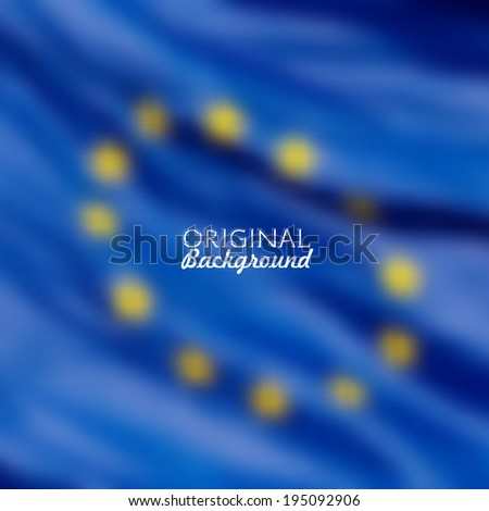 European Union flag blurred background - stock vector