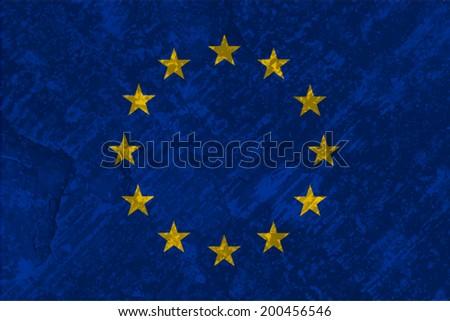European Union Flag on concrete textured background - stock vector