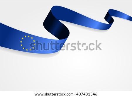 European Union flag wavy abstract background. Vector illustration. - stock vector