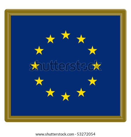 European Union flag with gold frame - stock vector