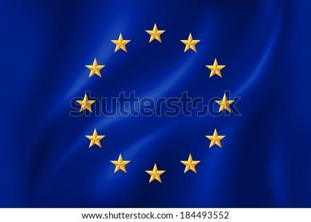 European Union flag with golden stars on cloth - stock vector