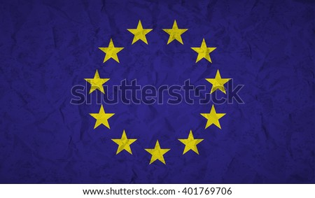 European  Union flag with the effect of crumpled paper and grunge