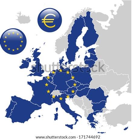 European Union Map - stock vector