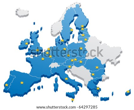 European Union Map: Map of the European Union. The capitals and the borders can be easily removed in the vector file. No transparency used. - stock vector