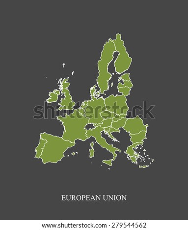 European Union map outlines in grey background, vector map of European Union in contrasted design for brochure template, tourist map, advertisement, web page design, science and education uses - stock vector