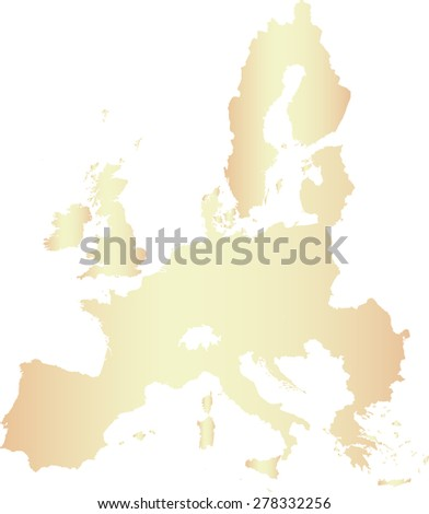 European Union map outlines, vector map of European Union in contrasted light color - stock vector