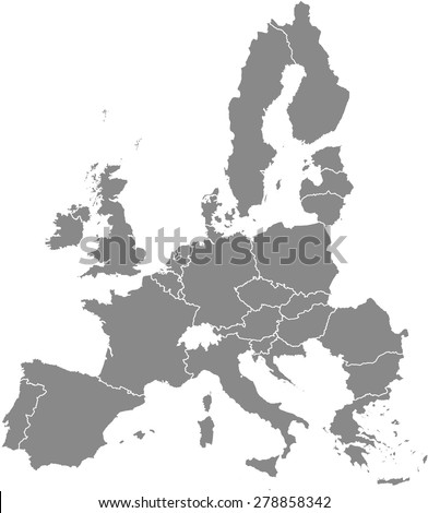 European Union map outlines, vector map of European Union with boundaries/ polygons or borders of EU countries in grey color background - stock vector