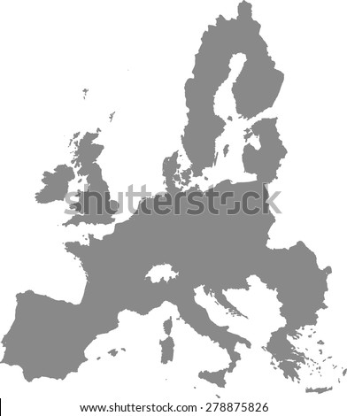 European Union map outlines, vector map of European Union with boundaries/ polygons or borders of counties or states or provinces in grey color background - stock vector