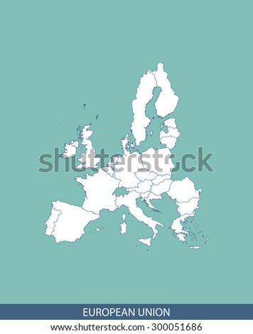 European Union map vector, European Union map outlines for science, brochure, tourist map, and other publication uses - stock vector