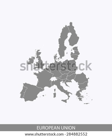 European Union map vector, European Union map outlines in contrasted grey background for brochure design and science and publication uses - stock vector