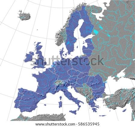 European union map rivers lakes over vector de stock586535945 european union map with rivers and lakes over shaded relief detailed editable vector created gumiabroncs Gallery