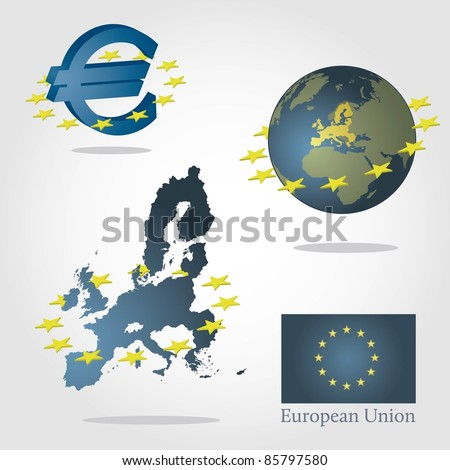 European union symbols concept. Euro sign, map of europe and globe with highlighted union. Surrounded by stars. - stock vector