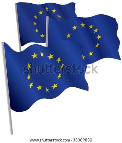 Eurounion 3d flag. Vector illustration. Isolated on white.
