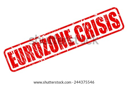 Eurozone crisis red stamp text on white - stock vector