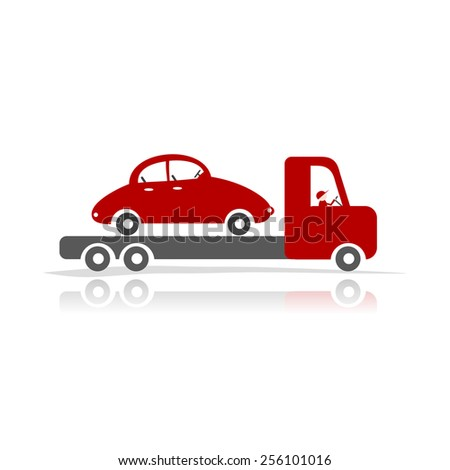 Evacuator with car for your design. Vector illustration - stock vector