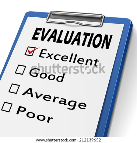 evaluation clipboard with check boxes marked for excellent, good, average and poor