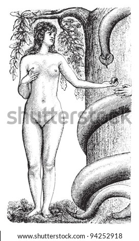 Eve / vintage illustration from Meyers Konversations-Lexikon 1897 - stock vector