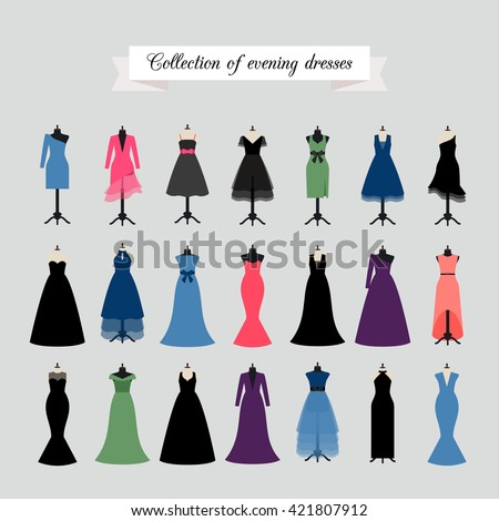 Evening Dresses. Vector party dress or fashion dresses in different styles - stock vector