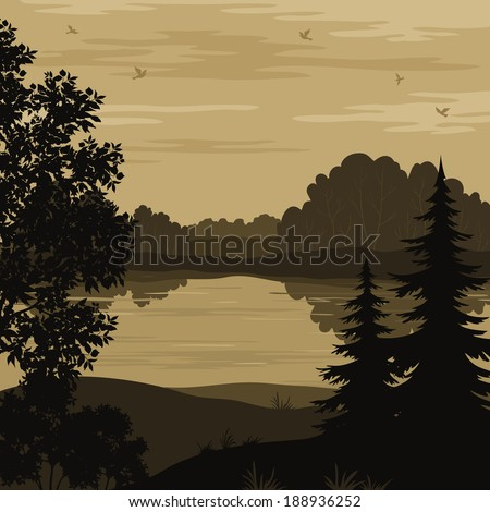 Evening landscape, trees, river and birds silhouette. Vector - stock vector