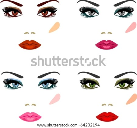 Evening make-up for eyes of different colors - stock vector