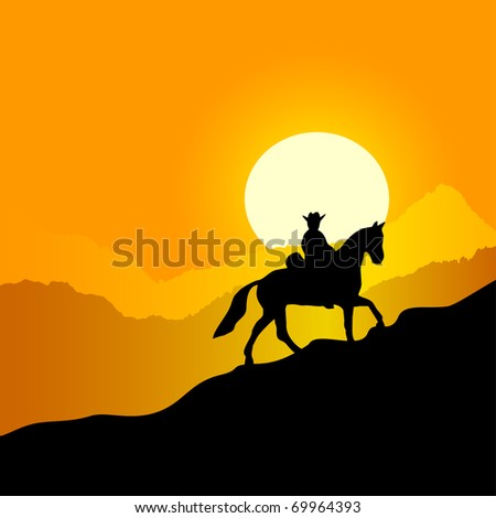 Evening mountain landscape. The lonely horseman against a sunset in mountains.JPEG version is available as ID 68187043. - stock vector