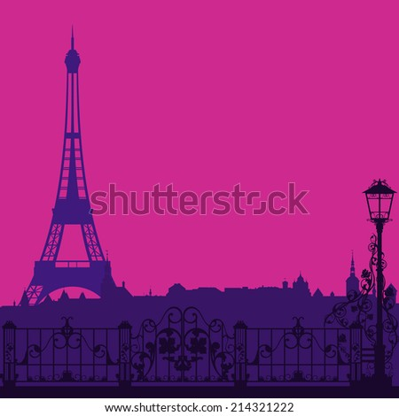 evening Paris silhouette with eiffel tower and empty street - vector background - stock vector