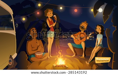Evening party in the bay - stock vector