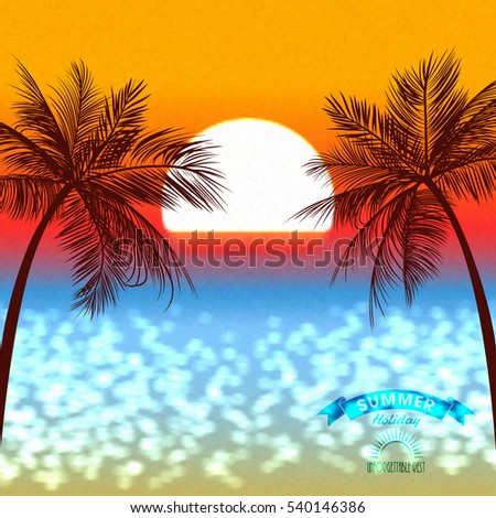 Evening sunset of a sun above a tropical coast