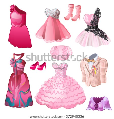 Evening wear for men and women in pink. Vector. - stock vector