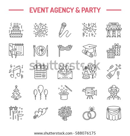 Event agency wedding organization vector line em vetor stock event agency wedding organization vector line icon party service catering birthday cake stopboris Image collections