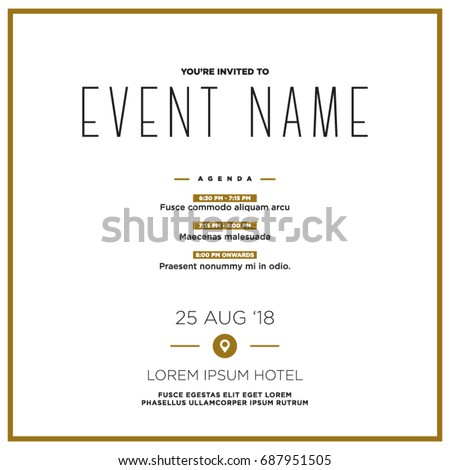 event invitation template agenda venue date stock vector royalty