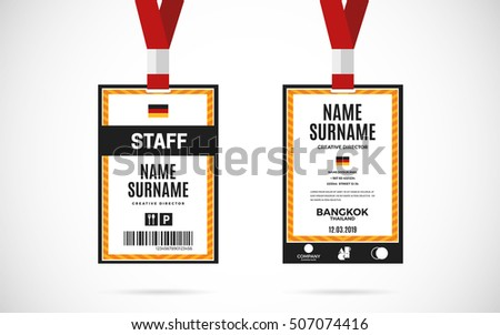Event staff id card set lanyard stock vector 507074422 for Staff id badge template