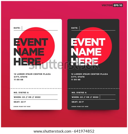 Event Ticket Template Venue Date Details Stock Vector