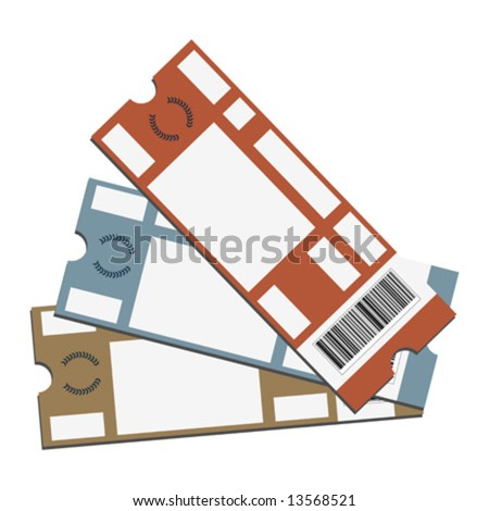 Event tickets with copy space isolated over white background - stock vector