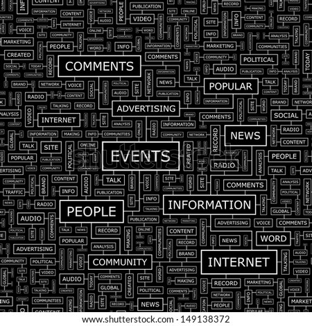 EVENTS. Word cloud concept illustration. Graphic tag collection. Wordcloud collage with related tags and terms.