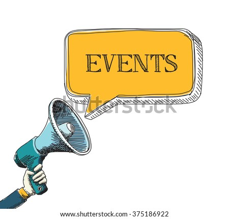 EVENTS word in speech bubble with sketch drawing style - stock vector