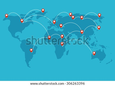 every part of the world is connected into single network - stock vector