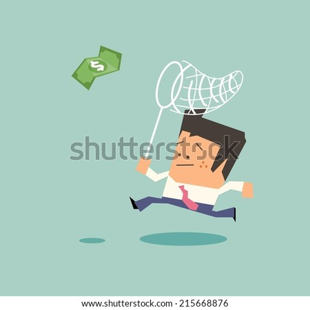 everybody looking for money. Flat vector illustration - stock vector