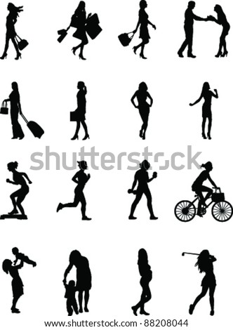 Everyday female, Vector various silhouette poses of a female at work and at play - stock vector