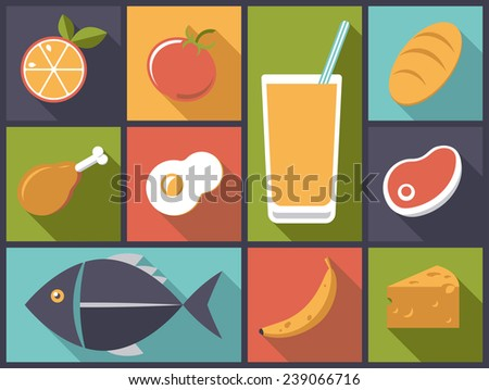 Everyday Food icons vector illustration. Flat design illustration with a variety of daily food icons - stock vector