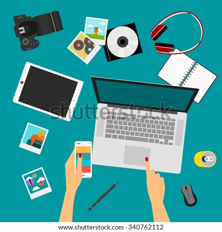everyday objects most popular things used stock vector royalty free
