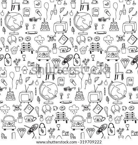 Everyday things, handdrawn, black and white, seamless pattern, vector illustration - stock vector