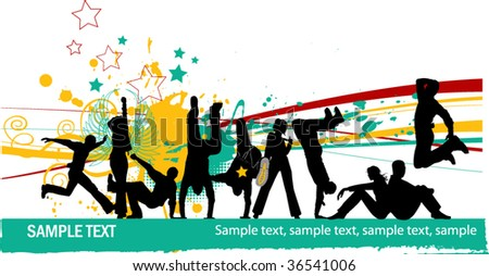 Everyone dancing and having fun. Dancing people. All elements and textures are individual objects. Vector images scale to any size. - stock vector