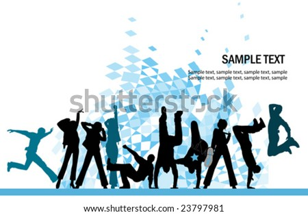 Everyone dancing and having fun. Urban city party. Vector images scale to any size. - stock vector