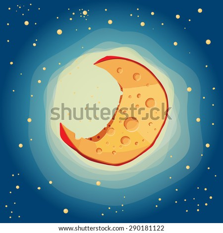 Everyone knows that the moon is from cheese - stock vector